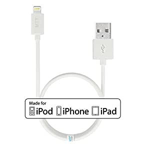 MTT Lightning to USB Cable 3ft / 1m with Ultra-Compact Connector Head for iPhone 6 6Plus 5s 5c 5, iPad Air Air2 mini mini2 mini3, iPad 4th gen, iPod touch 5th gen, and iPod nano 7th gen (White)