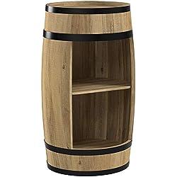 weeco Tonneau Bar 81cm, Armoire de Bar, Tonneau de Bois, Bar Bouteilles de vin tonneau Armoire