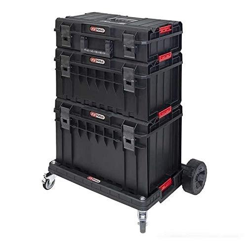 KS Tools 850.0377 - Juego de cajas SCM con carro de transporte 4 unidades, color blanco