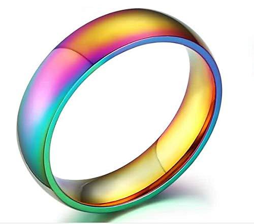 LOUMVE Edelstahlring Breit Herren Rainbow 6MM Herren Ringe Verlobung mit Gravur Größe 54 (17.2) (Herr Löffel Kostüm)
