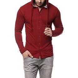 GRITSTONES Maroon Full Sleeve Hooded T Shirt GSFSHD1289MRN_L