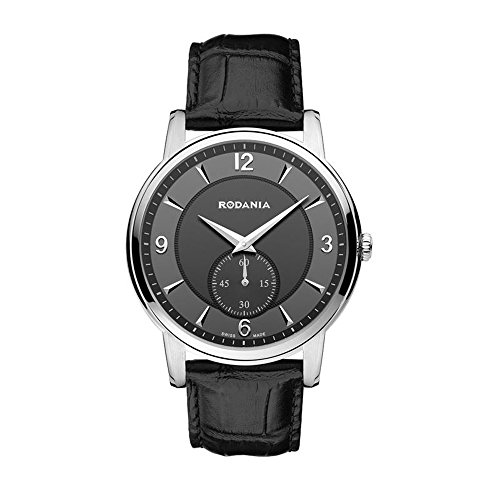 RODANIA Swiss Made Herren-Armbanduhr 40MM Armband Leder Batterie 25024-28