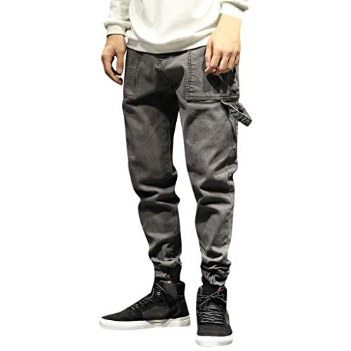 tretch Denim Pluderhosen Mode Plus Größe Distressed Ausgefranste Elastische Taille Taschen Lose Jeans Hose ()