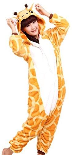 iKneu Tier Onesie Jumpsuits Pyjama Oberall Hausanzug Kigurum Fastnachtskostuem Schlafanzug Giraffe (Kostüm Damen Minion)