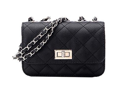 Aimerfeel Designer-Stil gesteppten Kunstleder Umhängetasche Handtasche mit langen Kette, schwarz,Weiß oder beige (Stil Designer Handtasche)