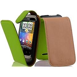 Cadorabo Coque pour HTC Wildfire, Vert Perroquet Design Flip Fermoire Magnétique Housse de Protection Etui Case Cover pour HTC Wildfire - Ouverture Verticale