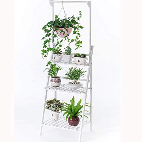 Salon suspendu multi-couche support de fleurs plancher en bois massif balcon couvert de pot de fleur (Couleur : Blanc, taille : 100 * 40 * 96cm)