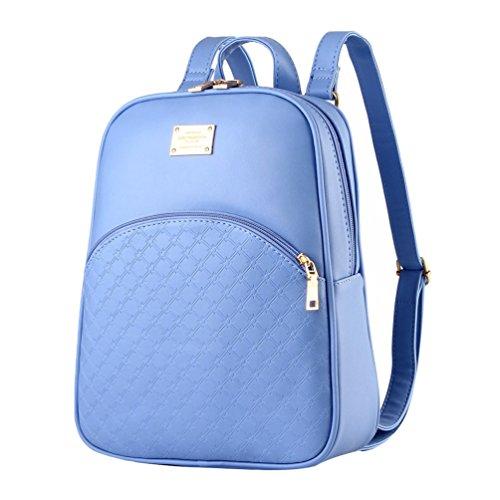 CHENGYANG Classic Solido Colori Zaino In Pelle Sintetica Con Cerniera Daypack Per La Scuola Cielo Blu