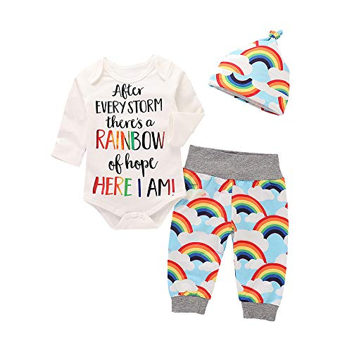 TTLOVE Kleinkind Baby MäDchen Jungen Brief Print Strampler Jumpsuit Rainbow Hosen Outfits Set 3Pcs Badebekleidung Und Hut Langarm Regenbogen Bademantel + Hose(Weiß,80)