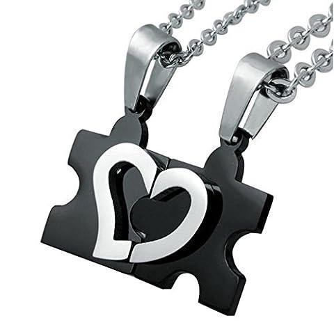 Jstyle Edelstahl verliebte Puzzle Anhänger Paareanhänger Freundschaft Anhänger mit 55cm Halskette für Liebe