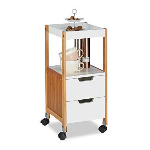 Relaxdays Rollwagen mit Schubladen, Teewagen, Tabletttisch rollbar, Küchenwagen aus MDF, Bambus, HBT: 69x30x30 cm, weiß