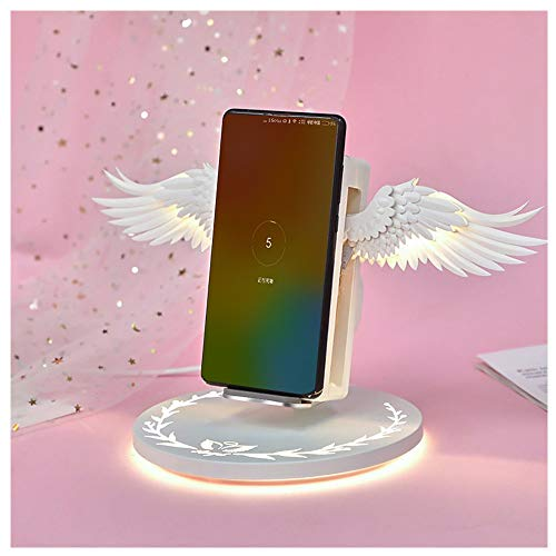 Angel Wings Smart Wireless Charger QI Ladestation mit Fremdkörpererkennung Induktion Shrink 10w Tragbares Handy Ladegerät Unterstützt alle kabellosen Ladegeräte für Smartphones (Weiß) -