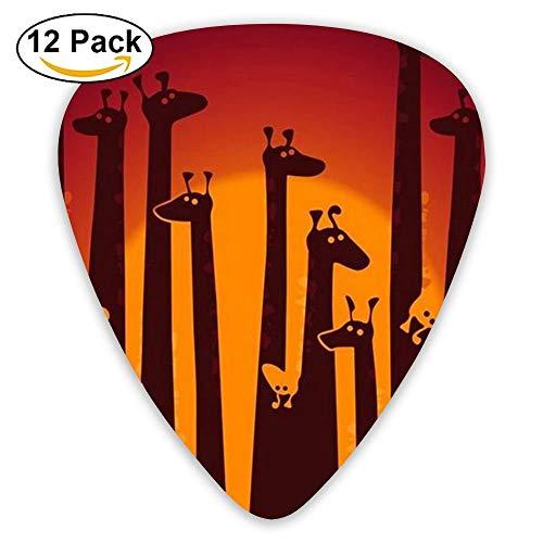 Giraffe Animal Heavy Acoustic Electric Medium Guitar Picks (12-Pack) Girls Large 0.46/0.71/0.96 Mm Guitar