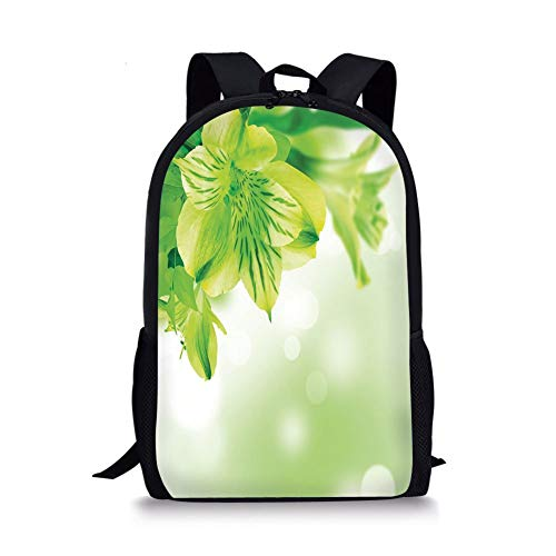 School Bags Green,Fresh Lily Flower Bloom with Leaves Abstract Bokeh Backdrop Garden Plant,Lime Green Apple Green for Boys&Girls Mens Sport Daypack (Lily Green Lime)