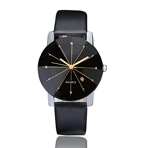 Herrenuhr Luxus Sport Quarz Uhren,Hevoiok Populäre Manner Edelstahl Lederband Zifferblatt Uhr Simply Armbanduhr (Schwarzer)