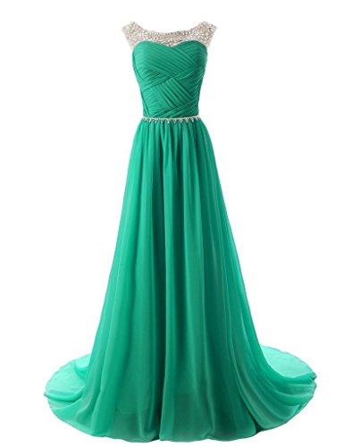 Vantexi Damen Glitzer Formale Abendkleid Ballkleid Chiffon Lange Kleider Smaragd Größe 40