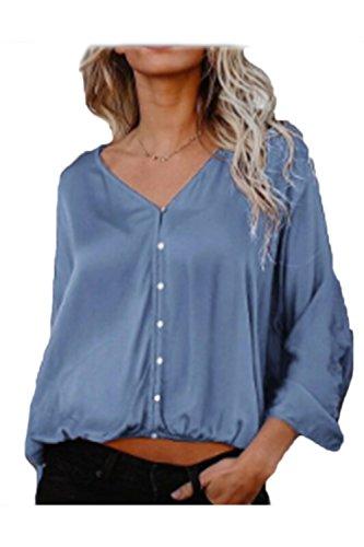 Zamtapary Le Donne Una Manica Lunga/Collo Cotone Bottone Allentato Camicia Camicetta Sopra Blue