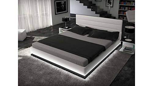 Lit design à led Giovani blanc 200 x 200 cm