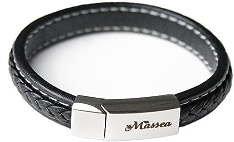 Massea Lederarmband mit Edelstahl Magnetverschluss - Armband (Schwarz) (Männerschmuck Armband)