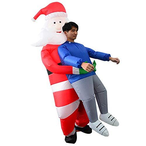 Aufblasbare T Rex Kostüm Santa - ECOSWAY Halloween-Kostüm für Erwachsene, Kinder,