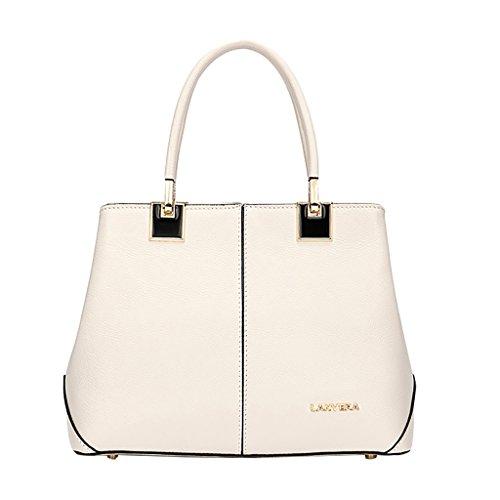 Mena UK Frauen-Weinlese-Leder-Reißverschluss-große Tote-Beutel-Schulter-Schultaschen-Handtasche ( Farbe : Off white , größe : 26cm*20cm*12cm ) (Off-white Leder-tote)
