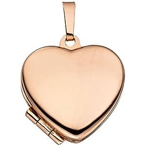 Anhänger Medaillon Amulett Herz zum Öffnen für 2 Fotos 925 Silber rotvergoldet