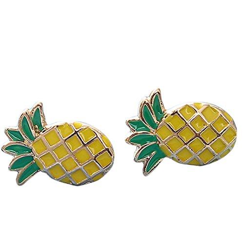 Qinlee Ananas Ohrringe Kinder-Ohrstecker Kinderschmuck Ananas Gelb Grün Niedlich Pineapple Halskette Ohrringe (Für Ananas Erwachsene Kostüme)