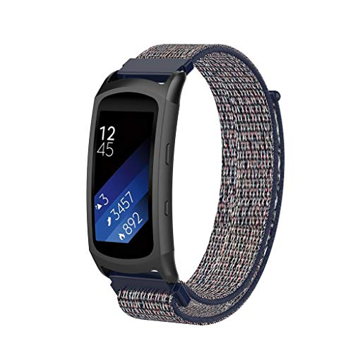 Waotier für Samsung Gear Fit 2 Pro Armband Nylon Armband Kompatibel für Samsung Fit Gear 2 Pro/Gear 2 Ersatzarmband mit Klettverschluss Nylon Uhrenarmband für Samsung Galaxy (Blau) -