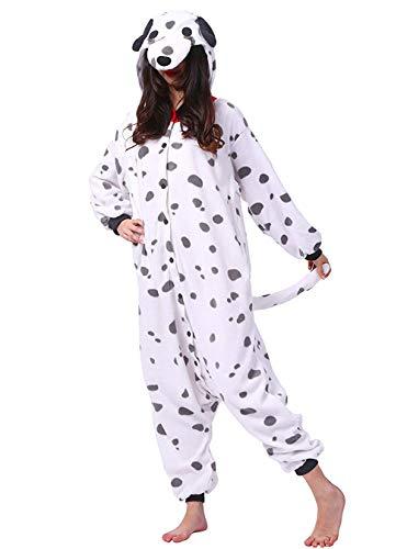 DELEY Unisex Erwachsene Onesie Pyjamas Weißer Hund Cosplay Halloween Karneval Kostüm Einteilige Nachtwäsche Größe S
