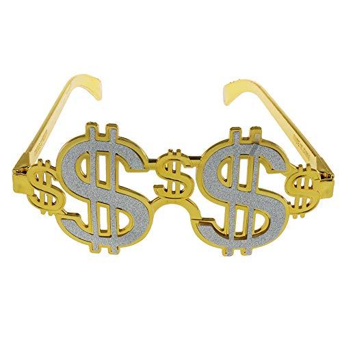 Unbekannt Mode Goldene Shiny Dollar Zeichen Kostüm Brillen Geld Sonnenbrille Fancy Kleid Party Photo Booth Brillen
