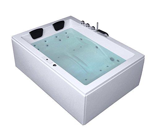 Whirlpool Badewanne Rechteck - Sylt Premium 2 Personen Made in Germany Whirlwanne Indoor NEU inkl. Armatur (180x130x66 cm)