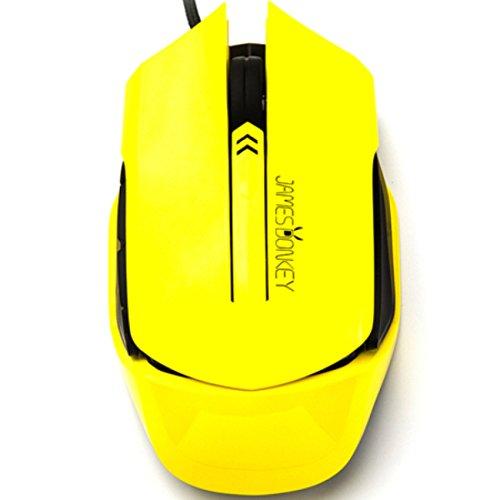 Alihen jd-112Ergonomische optische 2000/1600/1000dpi hohe Präzision Optische Maus mit Kabel USB-Spiel Maus für PC und Mac, 6Knöpfe, Seitliche Kontrolle, Schalter Micro gelb -