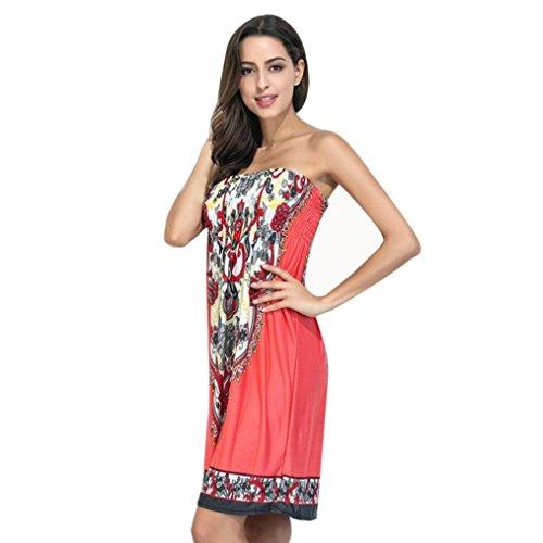Culater® Jolie Femmes Été Style Bohème Robes Imprimée Sexy Backless Sexy Melon d'eau rouge