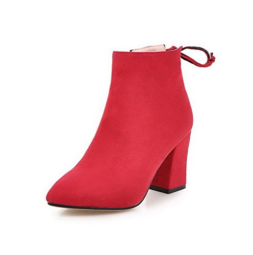 AllhqFashion Damen Nubukleder Rein Reißverschluss Hoher Absatz Stiefel Rot