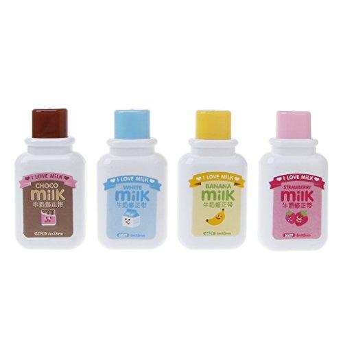 FXCO Bureau de style de bouteille de lait de bande dessinée de papeterie de bande de correction et fournitures scolaires
