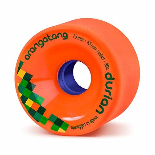 Orangatang Durian 75 mm 80a Freeride Longboard Skateboard Wheels (Orange, Set of 4)
