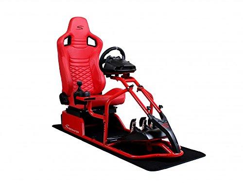 Speedmaster Pro Rosso - Fibra di carbonio Ottica Rosso - Sedile da corsa - PS4 XBOX - Simracing