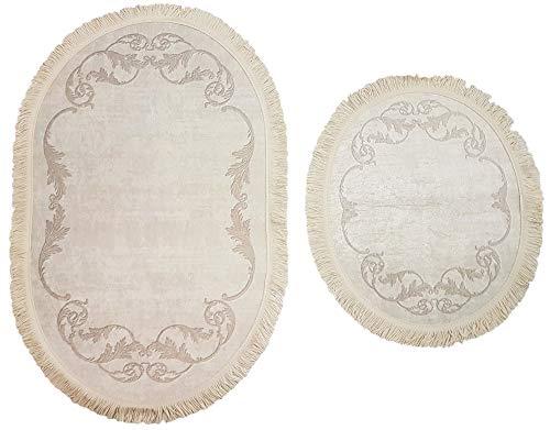 Seroni 2- teilig Badgarnitur Oval mit Fransen 60x100cm und 49x 60cm, Badset Vintage für Hänge-WC Badematten Badteppich Fransenteppich (Ecru Creme Ornamente)