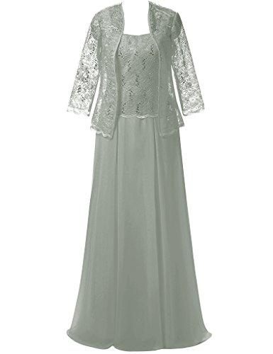 JAEDEN Damen Herzform Chiffon Mutter der Braut Kleider mit Jacke Spitze Abendkleid Lang Festkleid Silber
