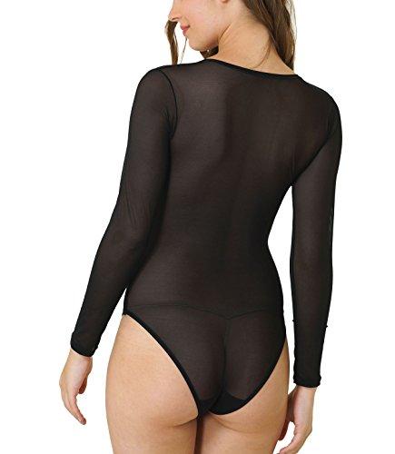 Dore Anse Underwear Body maniche lunghe girocollo da donna Tulle Body trasparente camicia Body Body Suit Nero