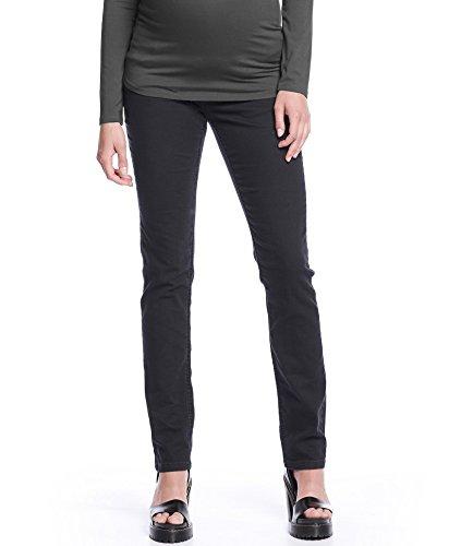 Queen Mum Damen Umstands-Jeans Schwangerschafts-Jeans Denim stützendes Bauchband gerades Bein normaler Bund Straight-Leg-Hose schwarz Gr. 46