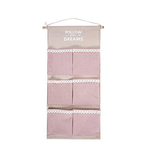 Mirayen Hängeaufbewahrung Tasche aus Stoff Hängeorganizer Wandorganizer Hängenden Beutel 6 Wandtasche Wand Utensilientaschen für Kinderzimmer Schlafzimmer (rosa)