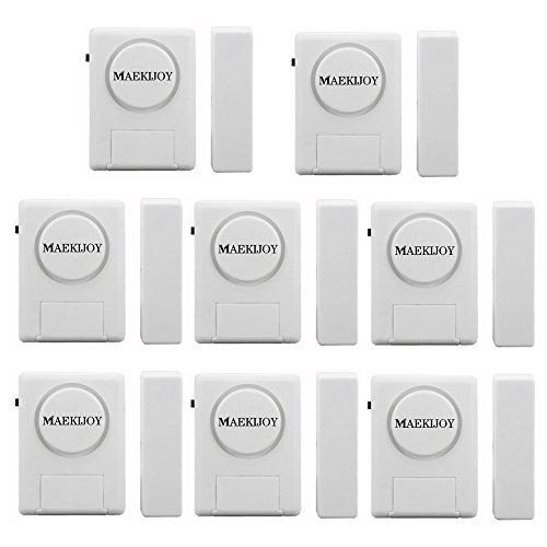 Kit d'alarme de porte / fenêtre 100dB, [8 pièces] MAEKIJOY Mini alarme antivol déclenchée magnétiquement pour les portes ou les fenêtres, Gardien de sécurité à la maison