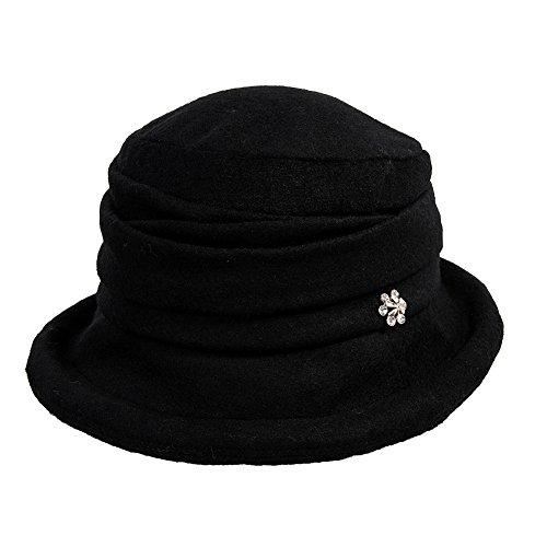 SIGGI schwarz Wolle 1920s Retro Glockehut Fischerhut für Damen Fedorahüte Klassisch klappbar Bowler Hut (Cloche Hut 1920)