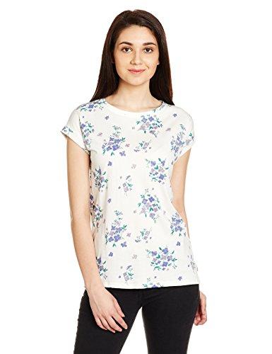 Pepe Jeans Women's Printed T-Shirt (PILK100072_M_Off-Wht)