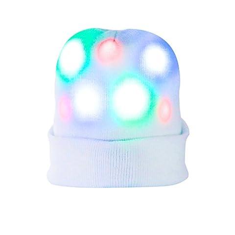 Led Hut, DAXIN Party Hut Knitted Mütze Hut mit 7 bunten blinkenden Leuchten für Erwachsene und Kinder, Light up Mütze für Party, Geburtstag, Sport, Weihnachten, Rave, Disco (Männer Frauen Fedora)