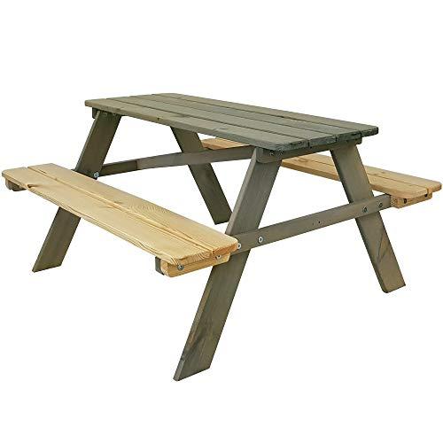 SunDeluxe Kinder Picknicktisch Grau/Natur - Kindersitzgruppe aus Holz für drinnen und draußen - Kindersitzgarnitur für 4 Kinder - mit abgerundeten Ecken und Kanten