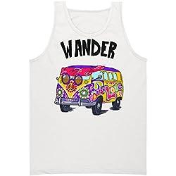 Wander Hippie Van With A Peace Sign Camiseta sin Mangas para Hombre Men's Tank Top Shirt Large