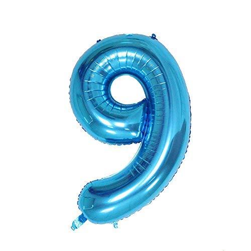ShopVip Globos de cumpleaños - Número 9 - Decoración Cumpleaños Gigante de bodas 80 CM - Número de globo gigante azul - Número de globo 9 años - Número 9 - 90 años