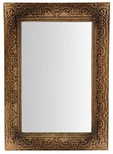My-goodbuy24 Wandspiegel mit Ornamenten | 38 x 27 cm | Spiegel | Holz | Schminkspiegel | zum Hängen | Vintage-Stil (Braun)